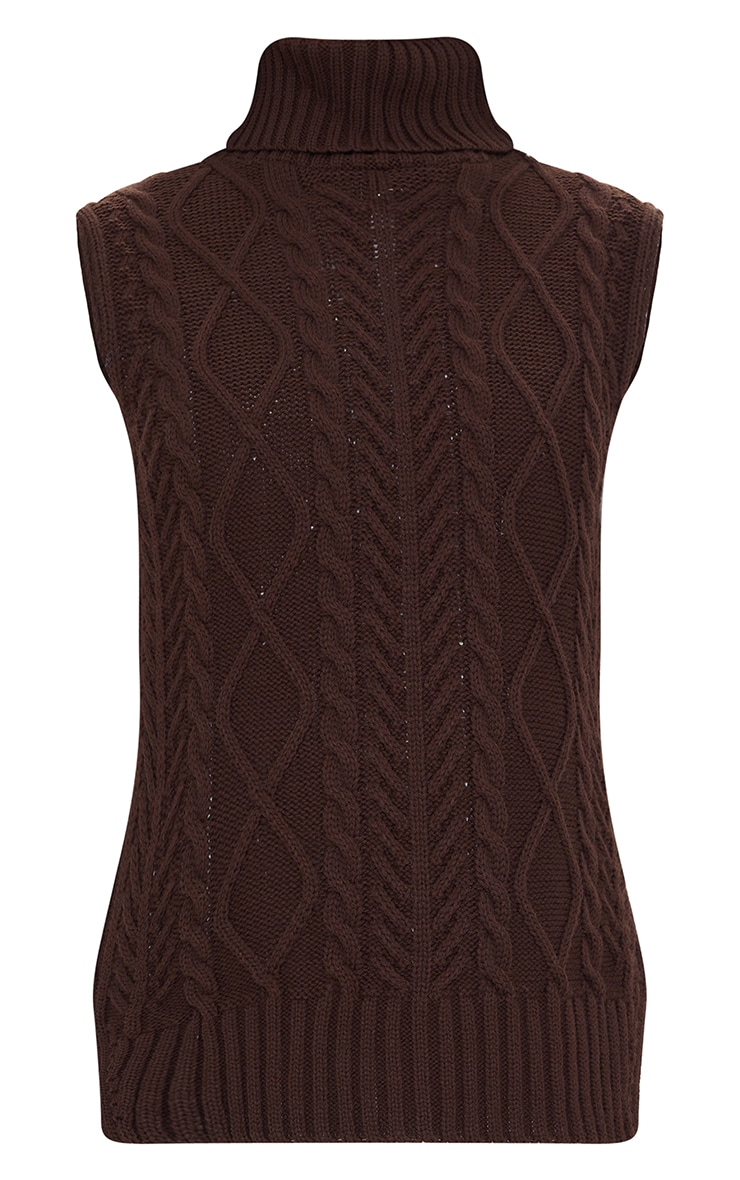 Chocolate Longline Sleeveless Cable Roll Neck Sweater 5