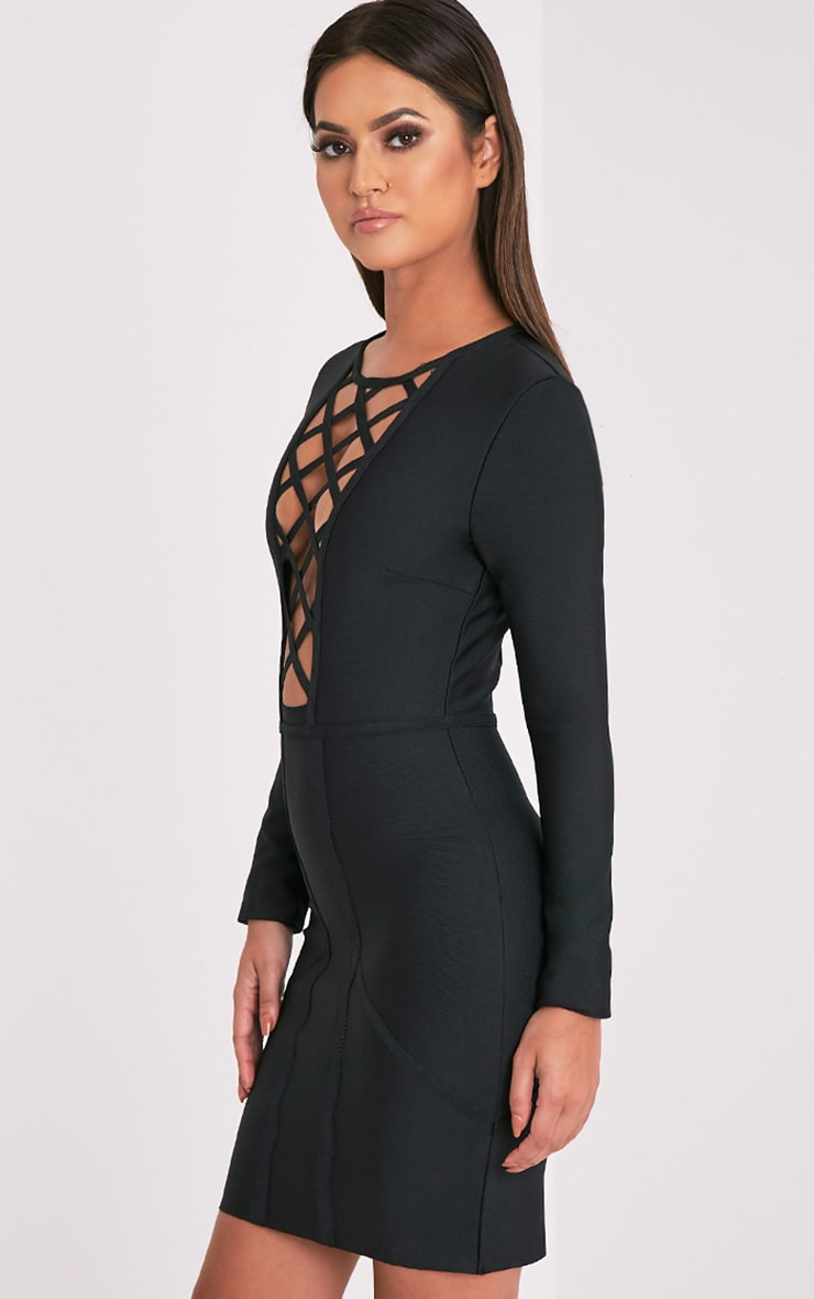 Dakota Premium robe moulante bandage treillis noire 4