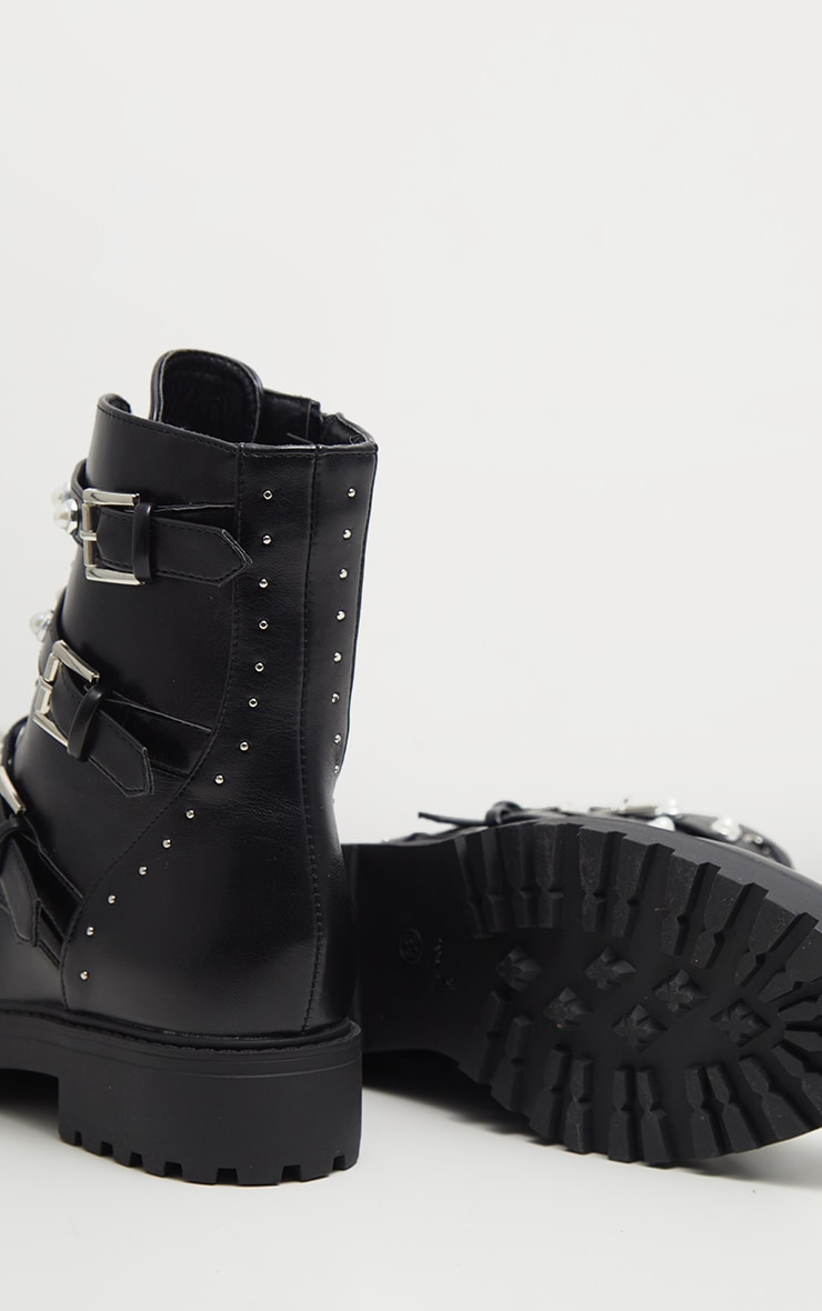 Black Lace Up Pearl Studded Biker Boot  4