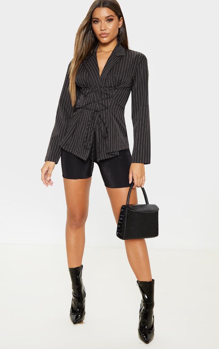 Black Pinstripe Lace Up Corset Shirt 4