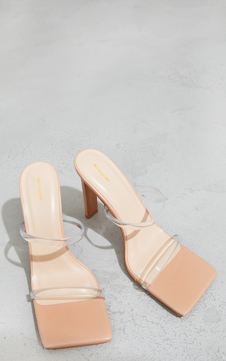 Nude Clear Twin Strap Square Toe Mule High Heels 3