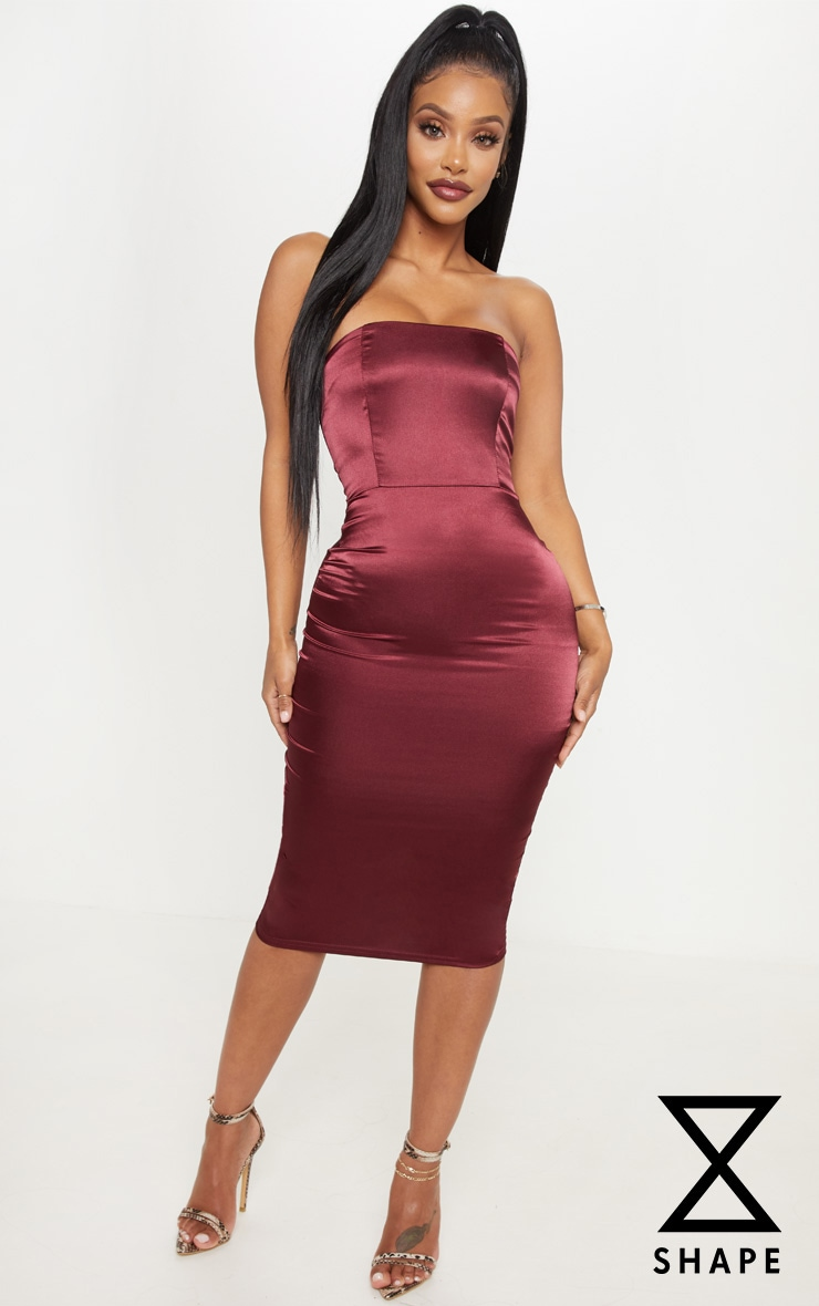 Shape Burgundy Satin Bandeau Midi Dress