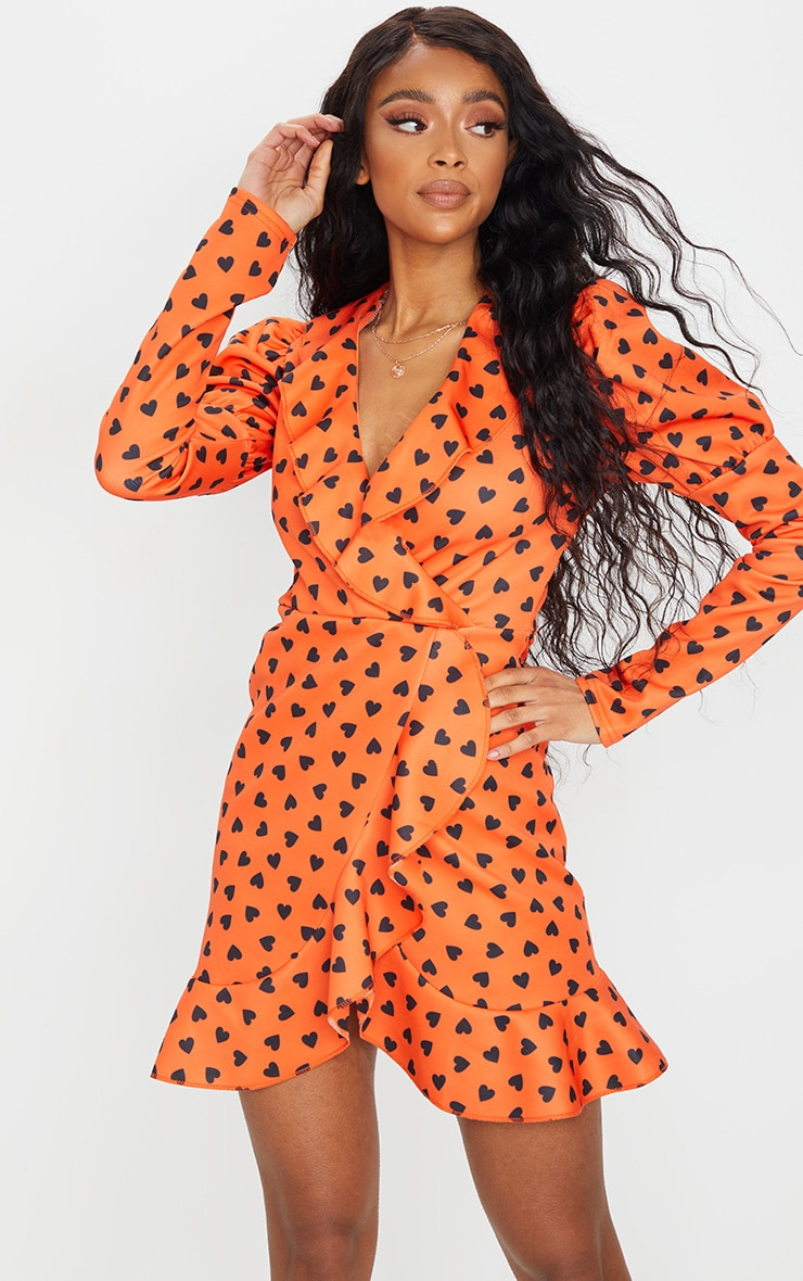 Orange Heart Print Puff Sleeve Long Sleeve Wrap Front Tea Dress 1