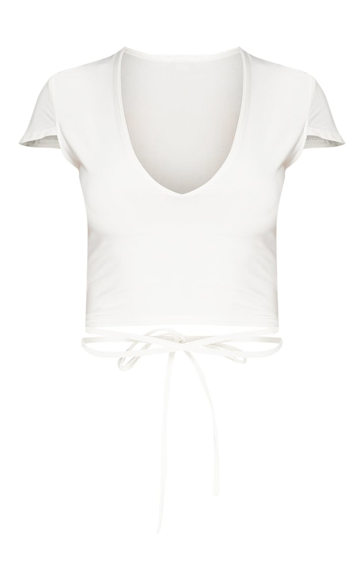 White Slinky V Neck Harness Detail Crop Top 3
