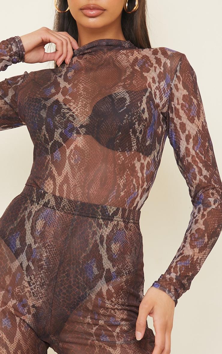 Purple Snakeskin Printed Sheer Mesh High Neck Long Sleeve Bodysuit 4