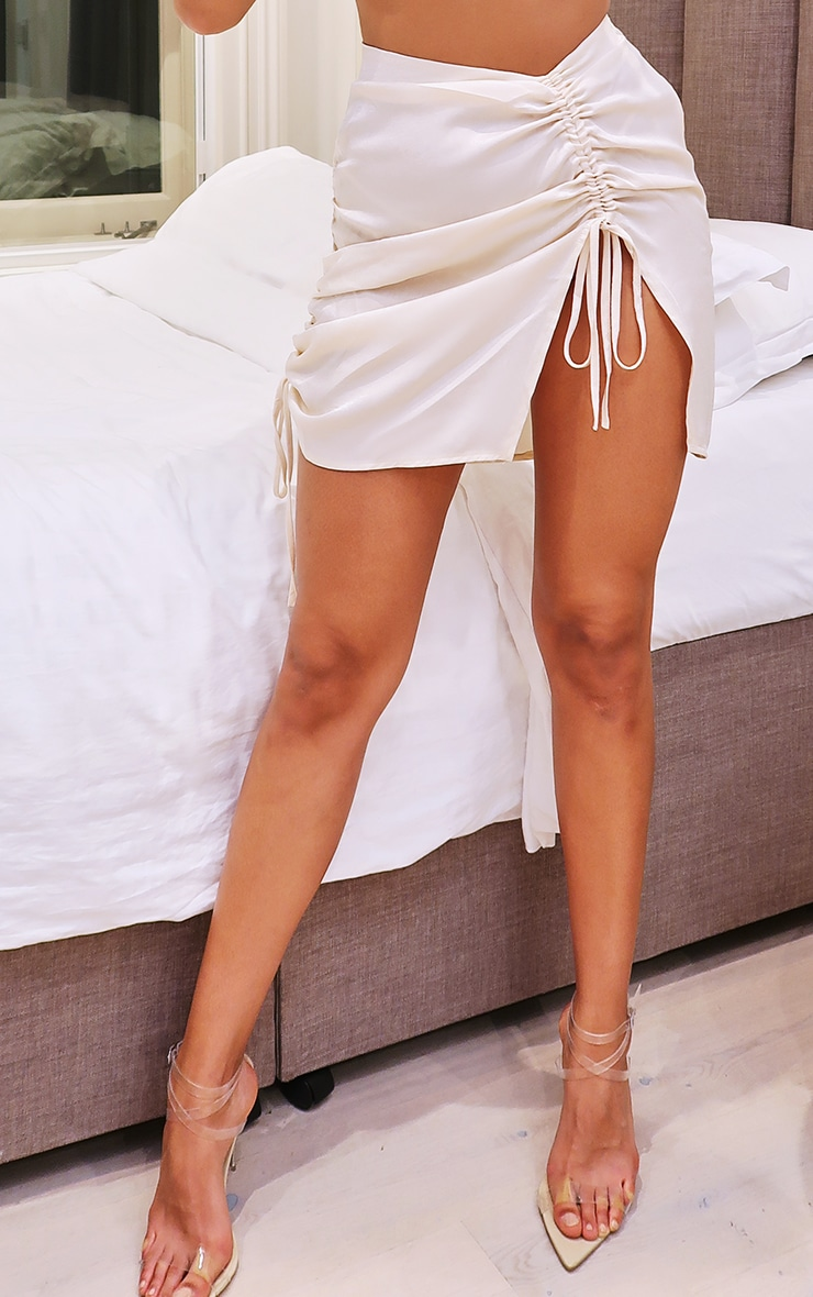 Cream Hammered Satin Ruched Detail Mini Skirt 2