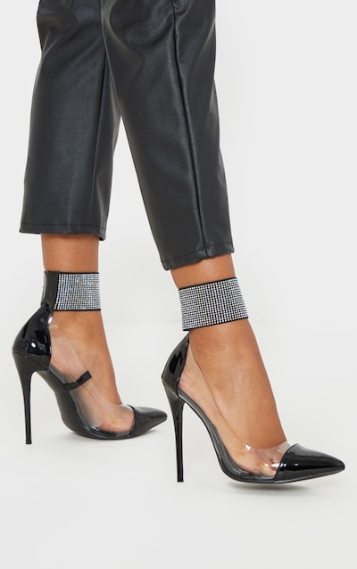 Black Diamante Cuff Court Shoe