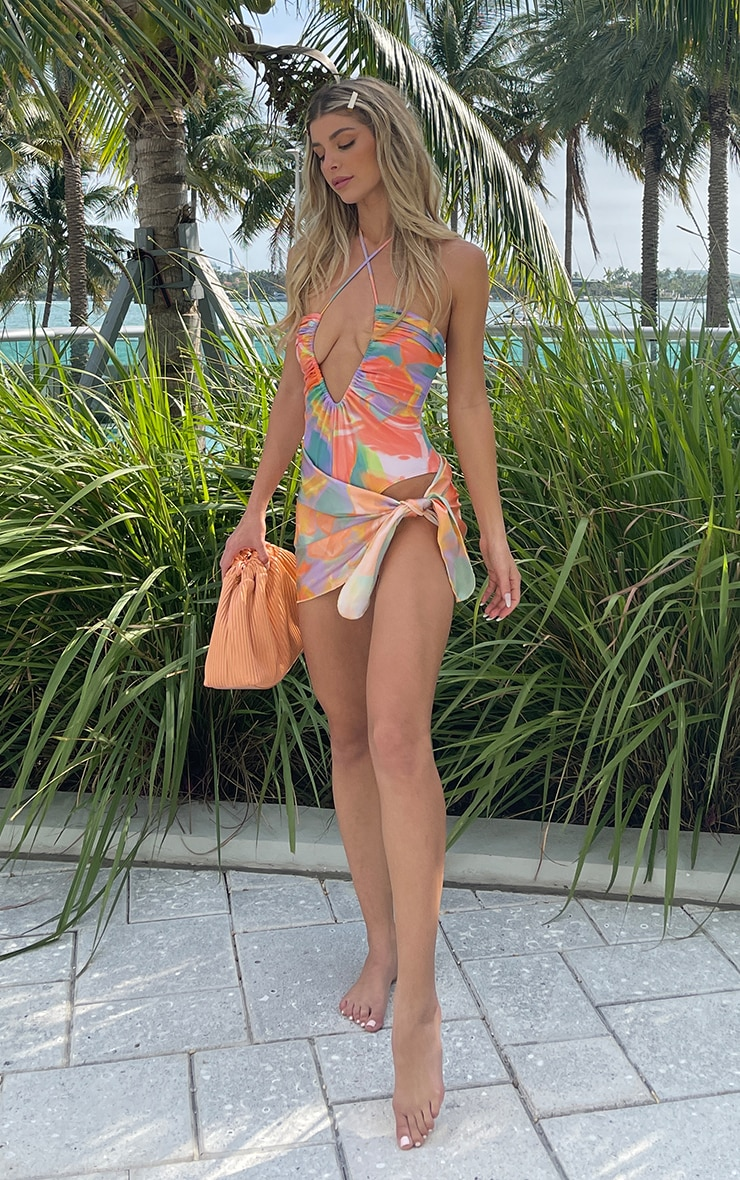 Peach Pastel Abstract Print Satin Beach Sarong 1