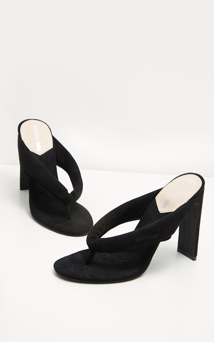 Black Flat Heel Thong Sandal 4