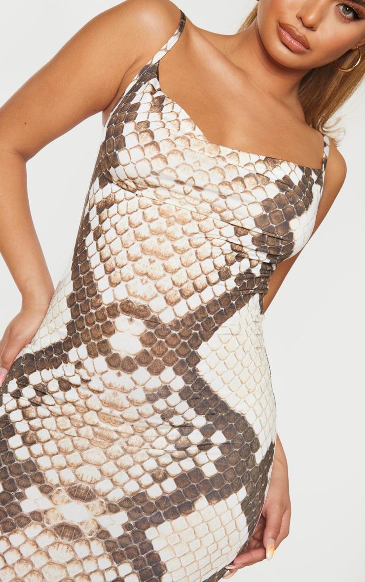 Brown Snake Print Cowl Neck Strappy Maxi Dress 4