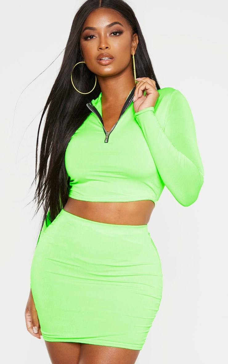 Shape Neon Lime Slinky High Waisted Mini Skirt by Prettylittlething