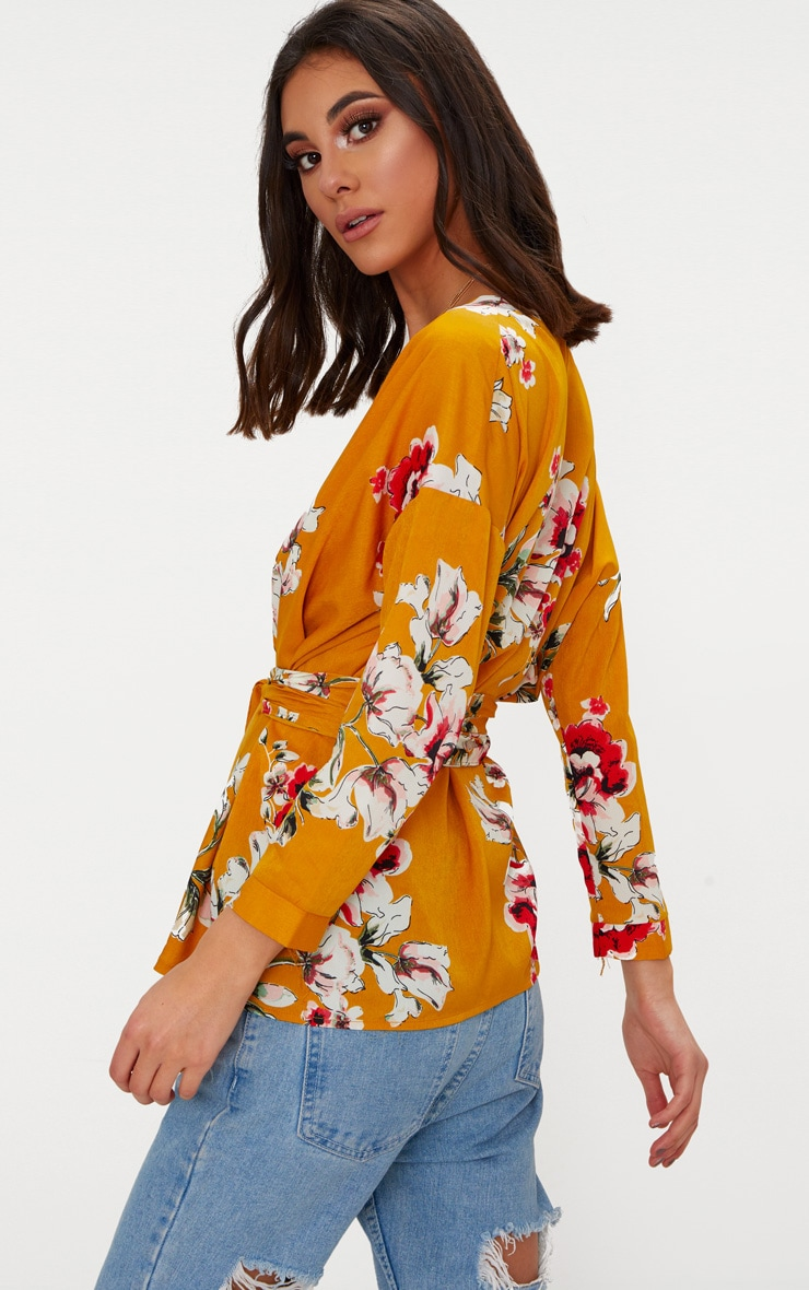 Mustard Large Floral Print Tie Waist Blouse  2