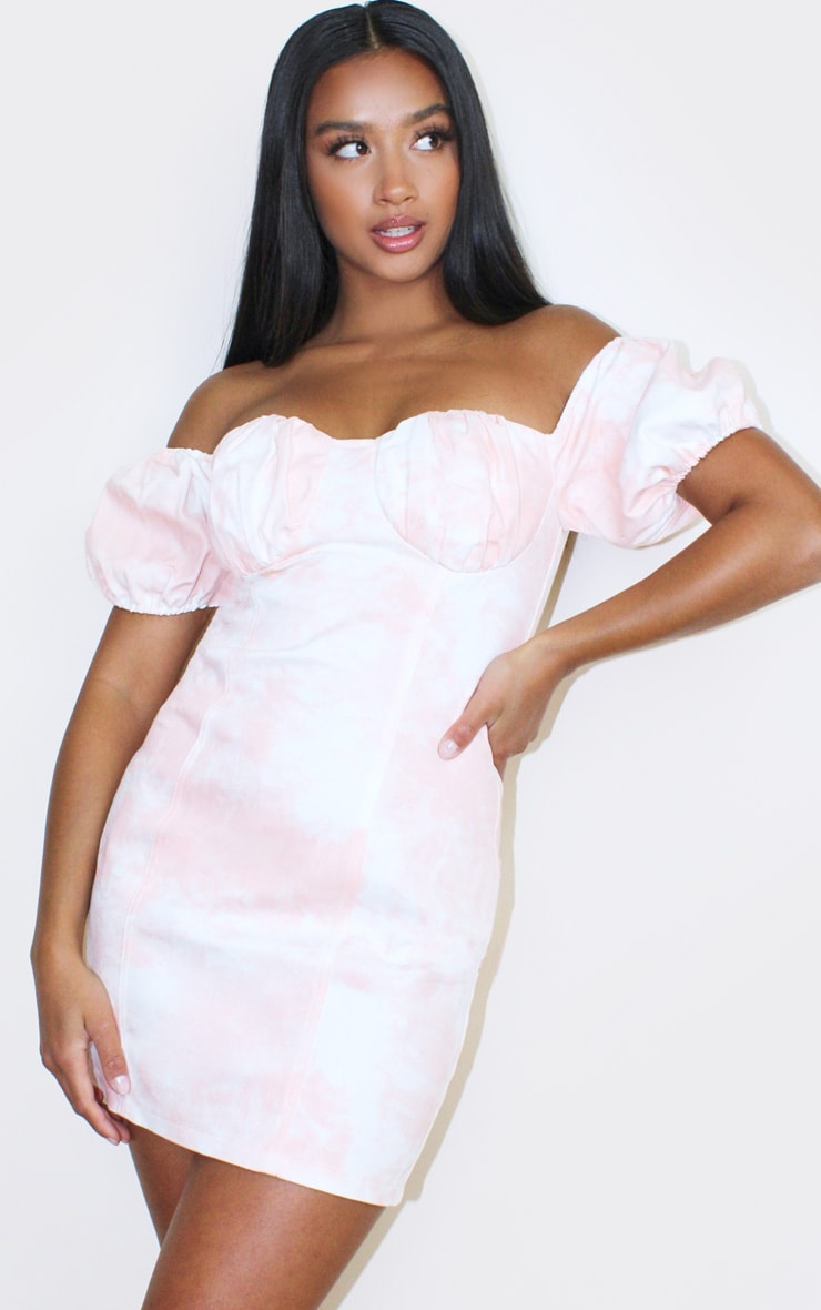 Petite Pink Tie Dye Denim Milkmaid Mini Dress 1