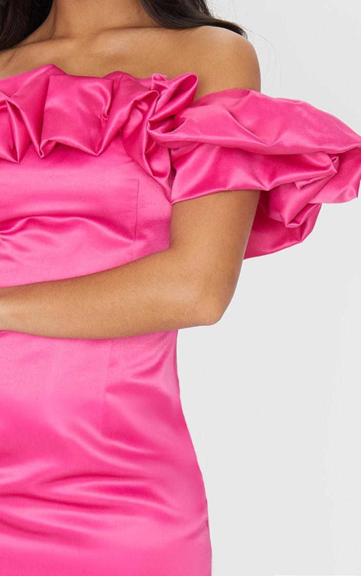 Petite Hot Pink Ruched Bardot Dress 4