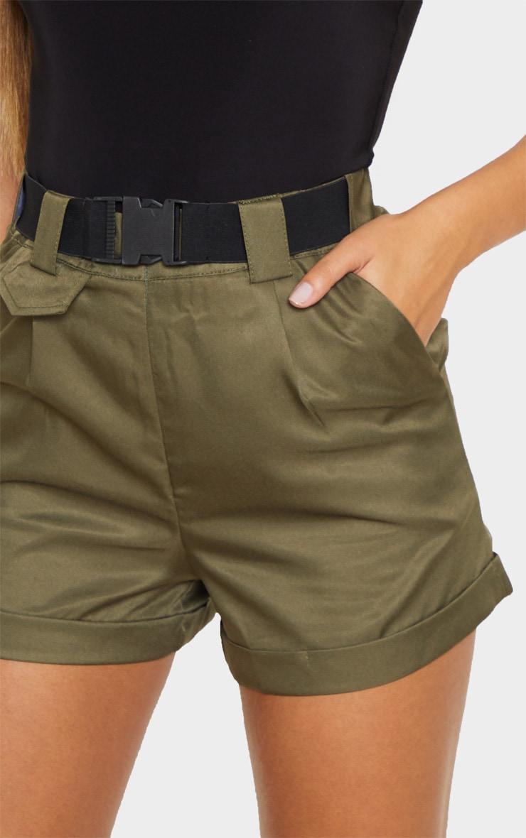 Olive Khaki Woven Belted Turn Up Hem Shorts 6