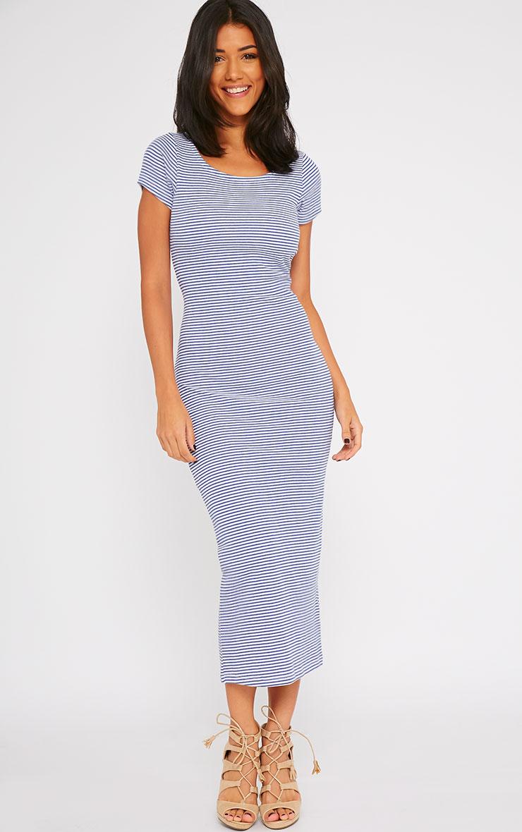Suzie Blue Ribbed Jersey Stripe Print Maxi Dress 3