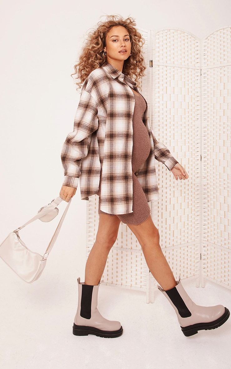 Maternity Camel Brushed Check Shacket