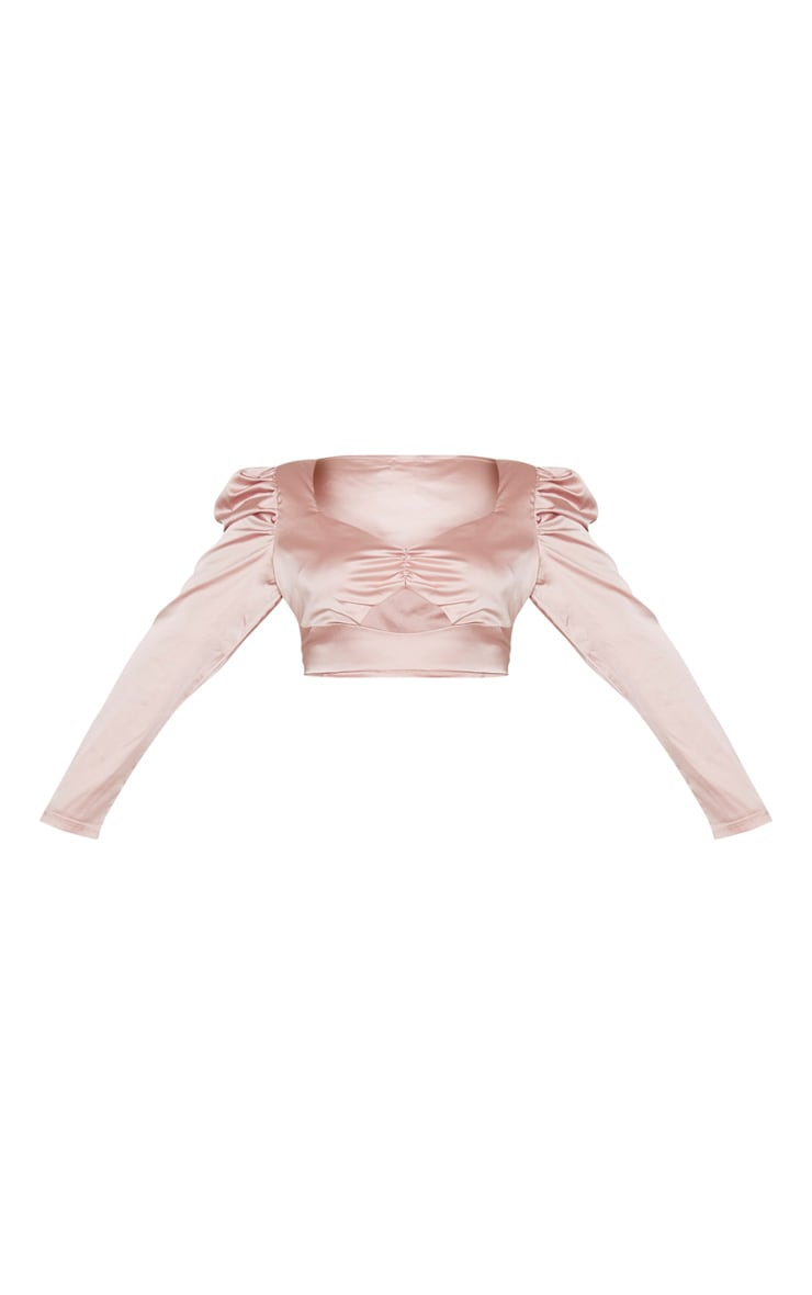 Plus Blush Satin Bow Front Puff Sleeve Crop Top 3