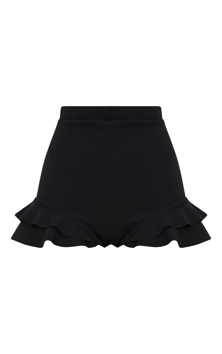 Black Ruffle Detail Hot Pant Short 3