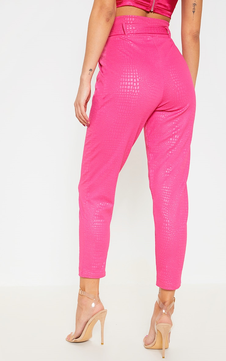 Fuchsia Croc Print D Ring Belted Skinny Trousers 4