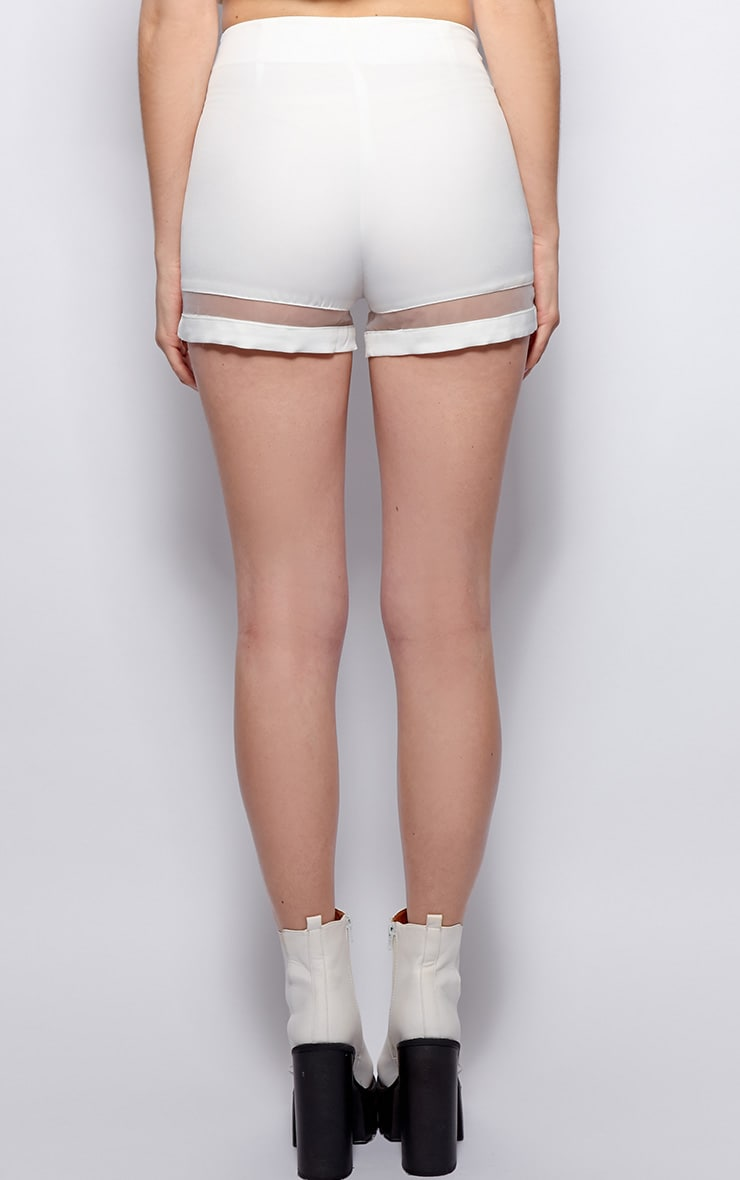 Ashley White Mesh Insert Chiffon Shorts 2
