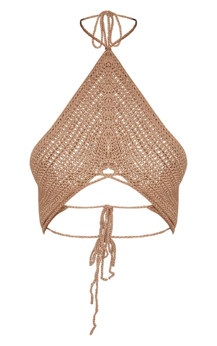 Camel Crochet Halterneck Detail Bralet 3