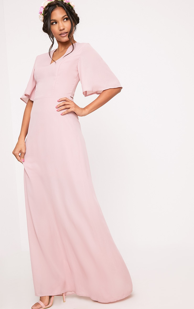 Lucilla Dusty Pink Lace Up Detail Maxi Dress 4