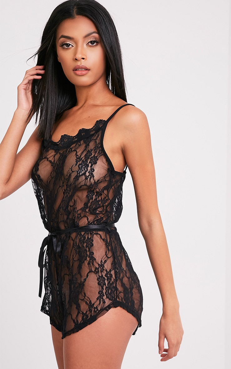 Sanny Black Lace Teddy Nightsuit 1