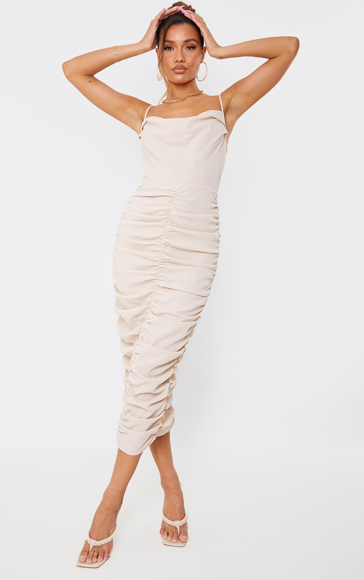 Stone Textured Strappy Cowl Neck Ruched Midaxi Dress 3