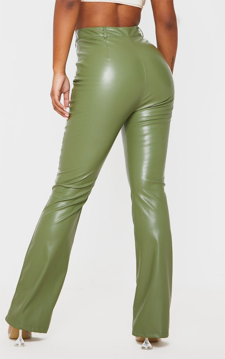 Khaki PU Flared Pants 4