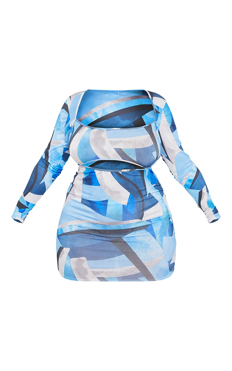 Plus Blue Abstract Print Cut Out Bodycon Dress 5