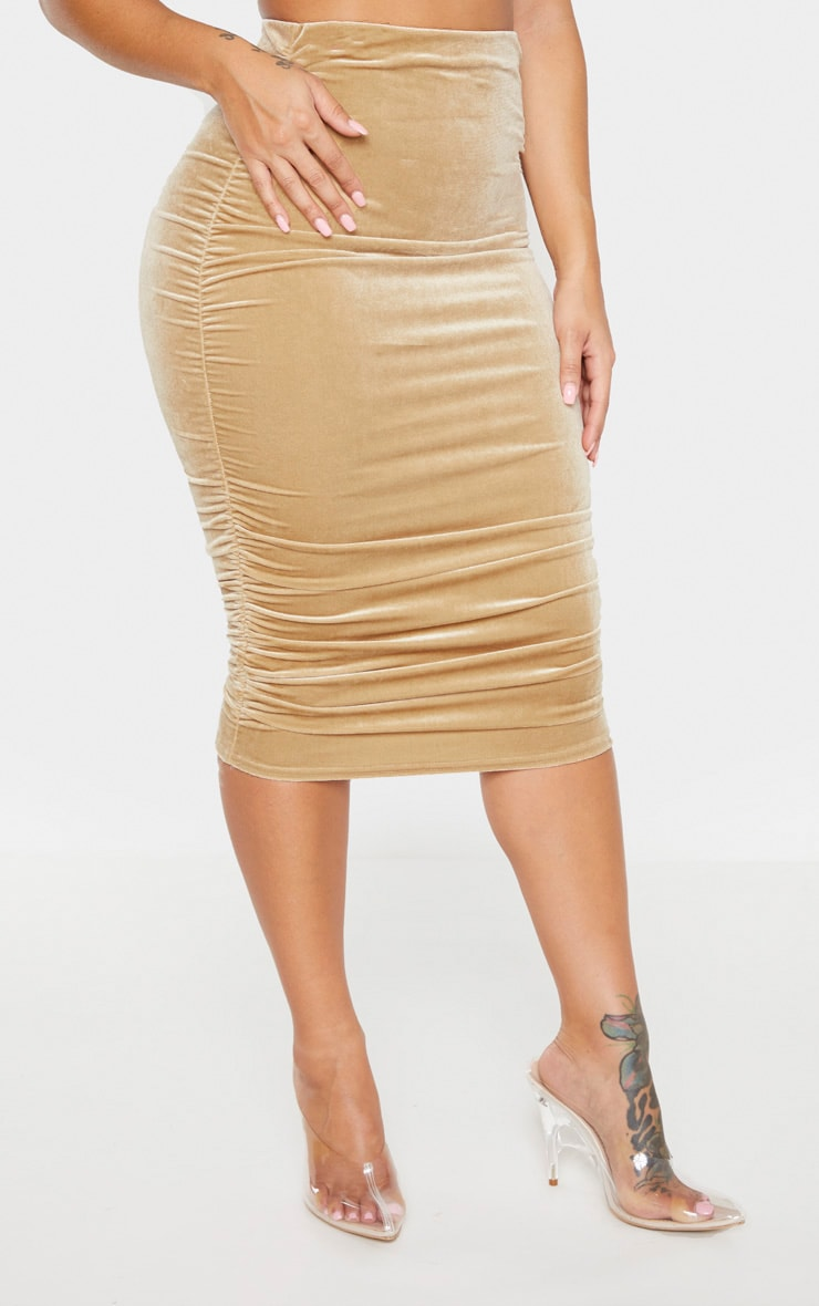 Shape Champagne Velvet Ruched Side Bodycon Skirt 2
