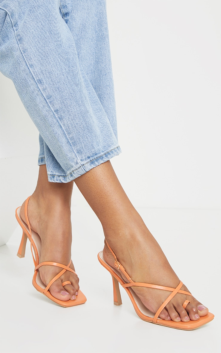 Orange Square Toe Strappy Heeled Sandals image 1