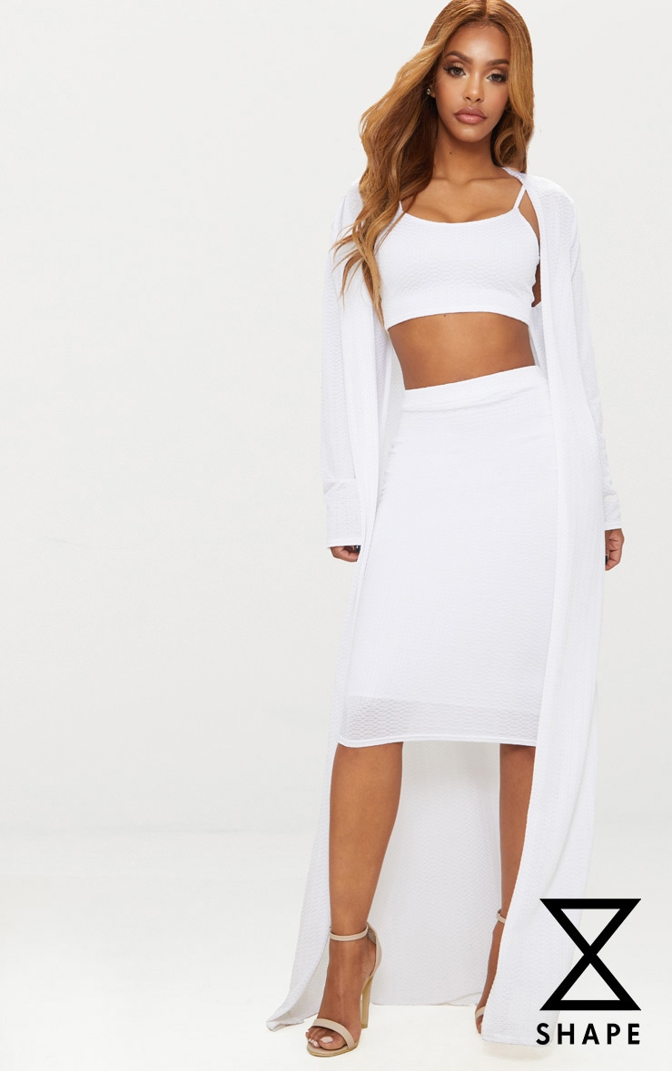 Shape White Textured Duster Coat