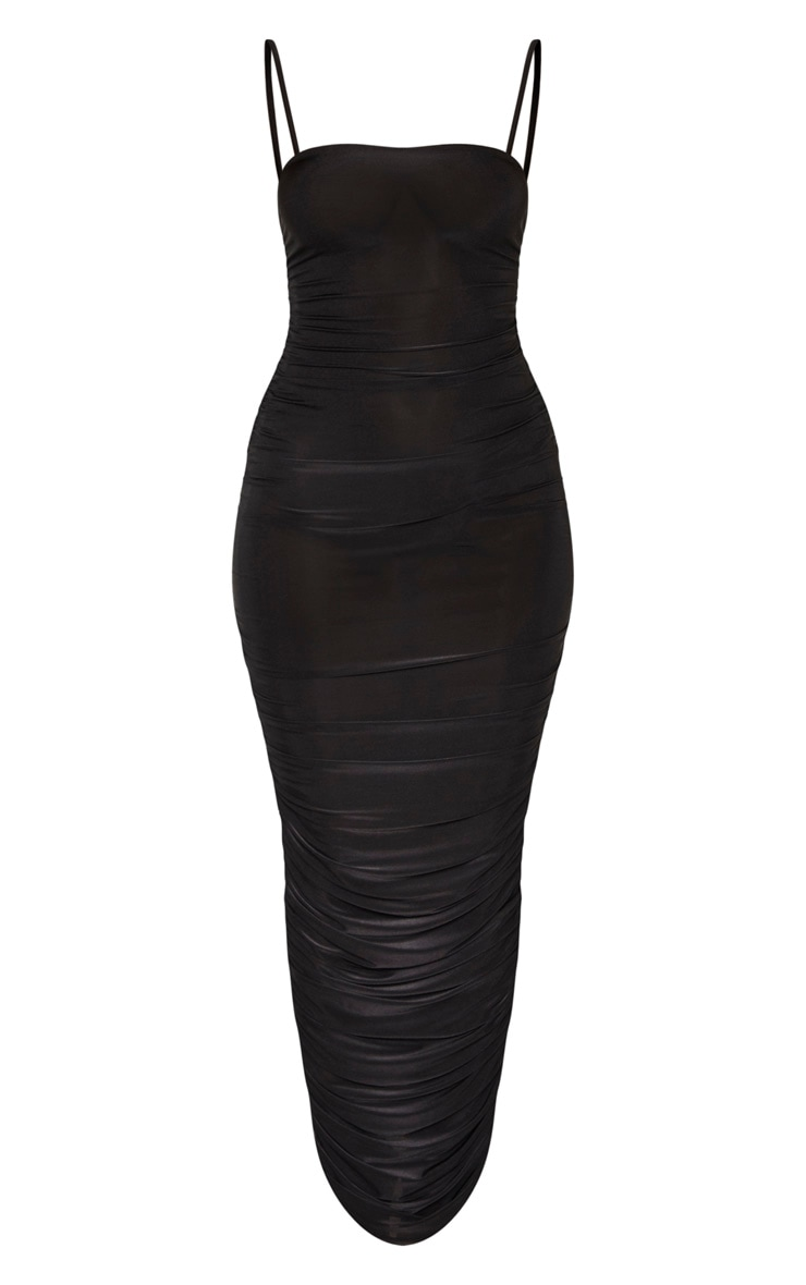 Black Strappy Slinky Ruched Back Maxi Dress 3
