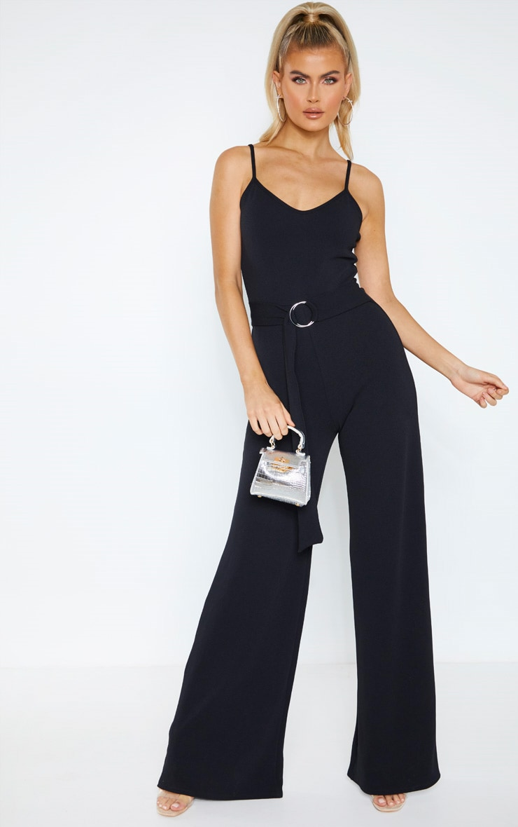 Tall Black O-ring Belt Jumpsuit  1