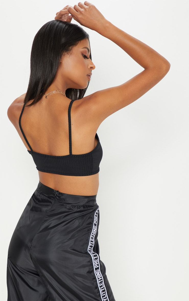 Black Ribbed Jersey Bralet 2
