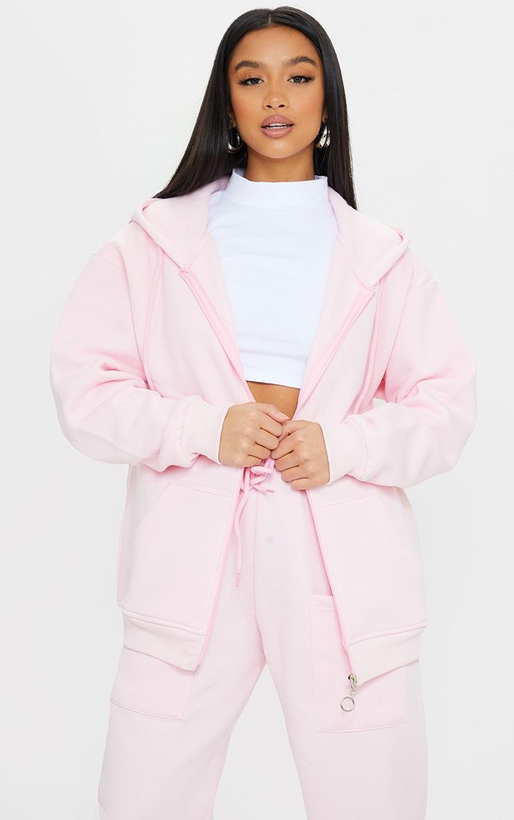 Petite Pink Extreme Oversized Pocket Front Zip Through Hoodie 1