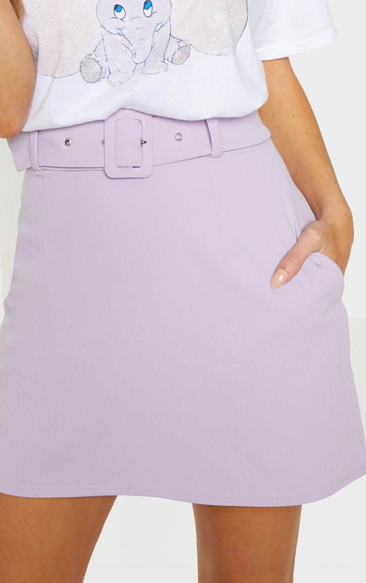 Lilac Belted A Line Mini Skirt  6