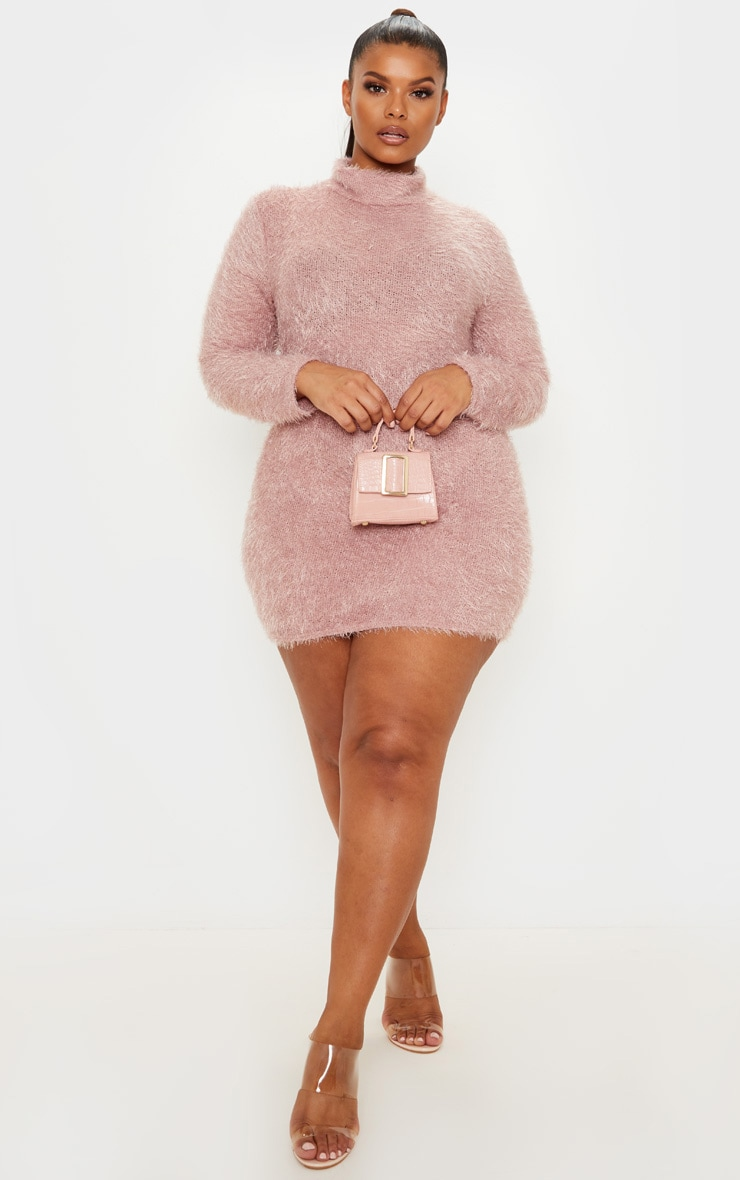 Plus Mauve Eyelash Knit Bodycon Dress 4