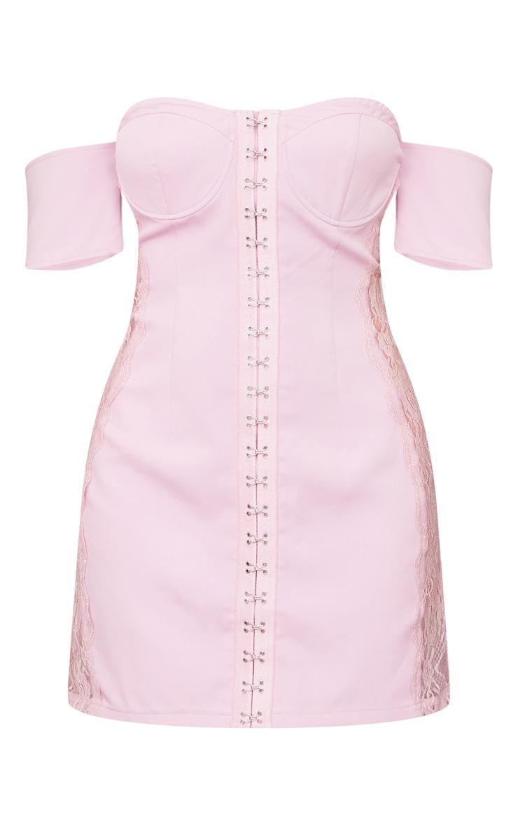 Lilac Woven Lace Insert Hook & Eye Bardot Bodycon Dress 5