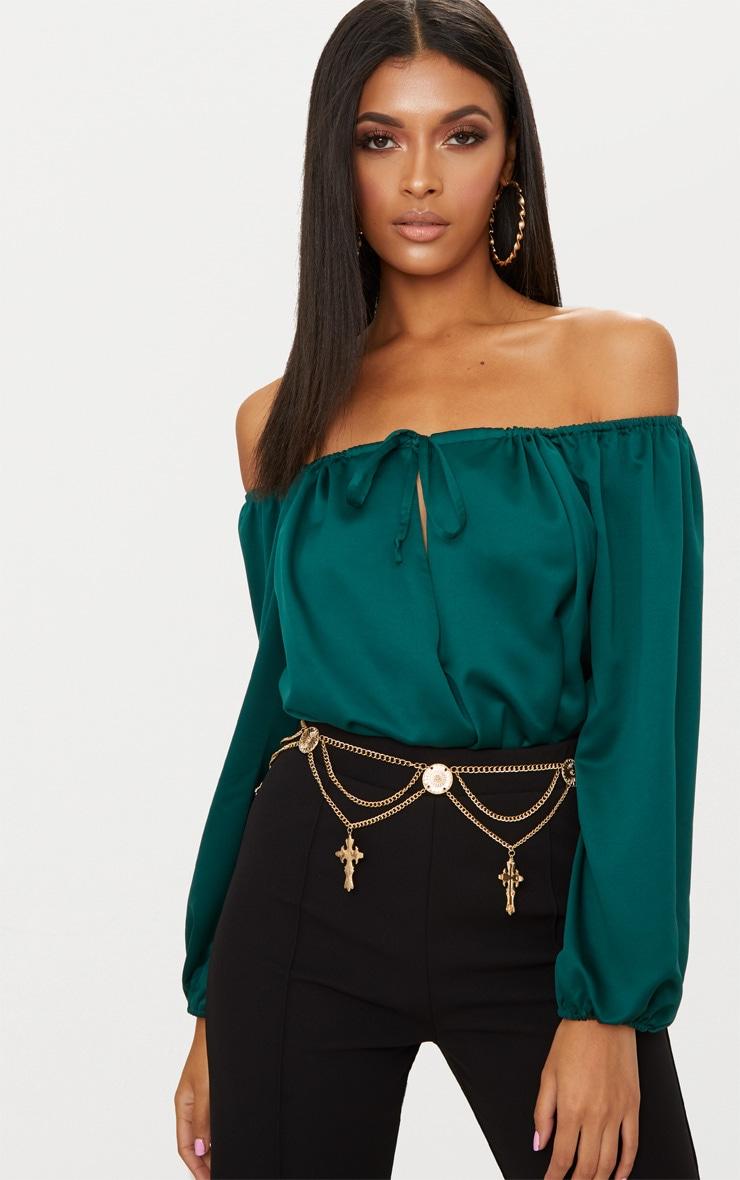 Forest Green Satin Keyhole Longsleeve Bardot Thong Bodysuit