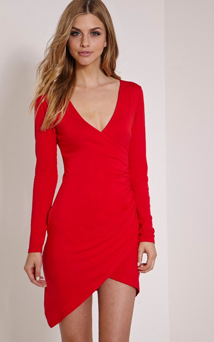Kendi Red Wrap Mini Dress 1