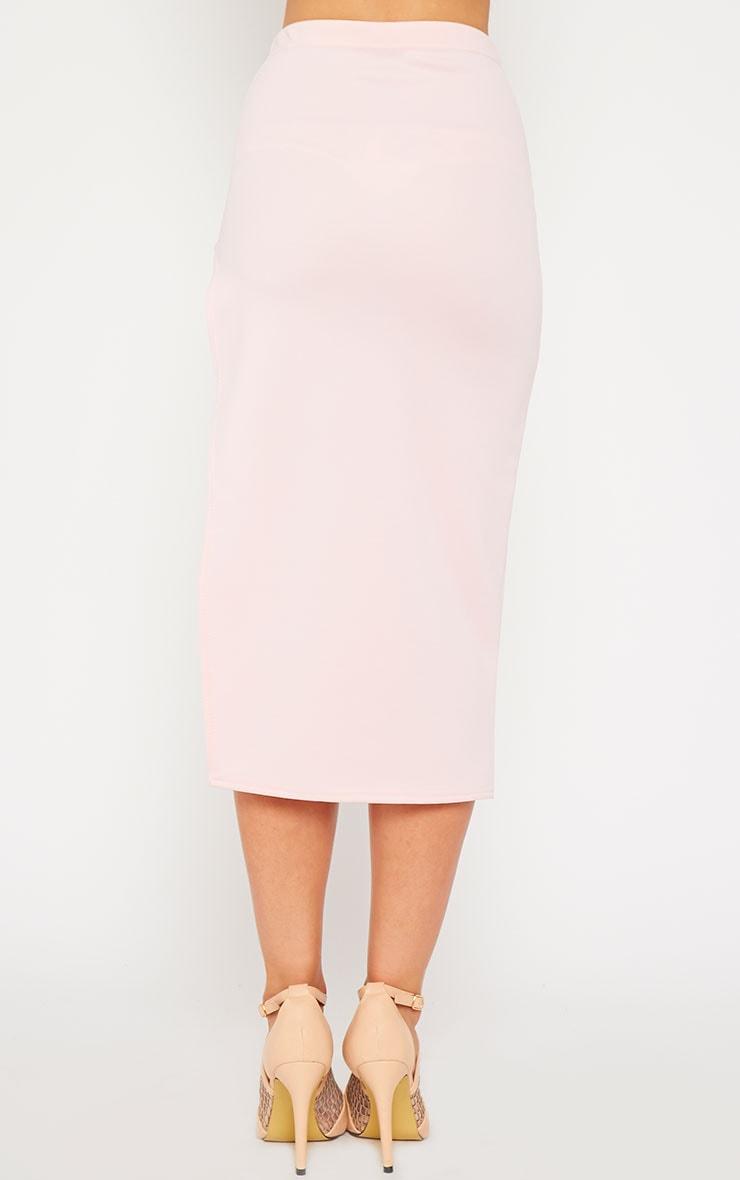 Savina Baby Pink Side Split Midi Skirt 4