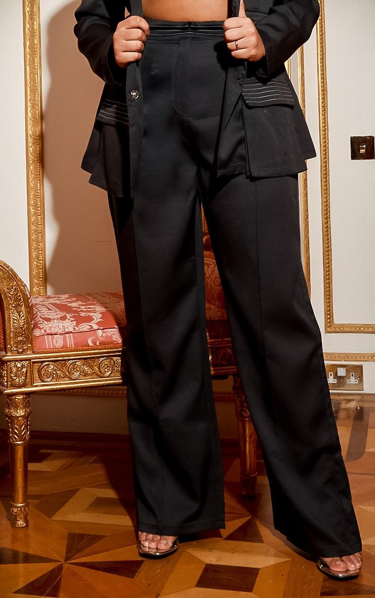 Plus Black Seam Detail Wide Leg Pants 2