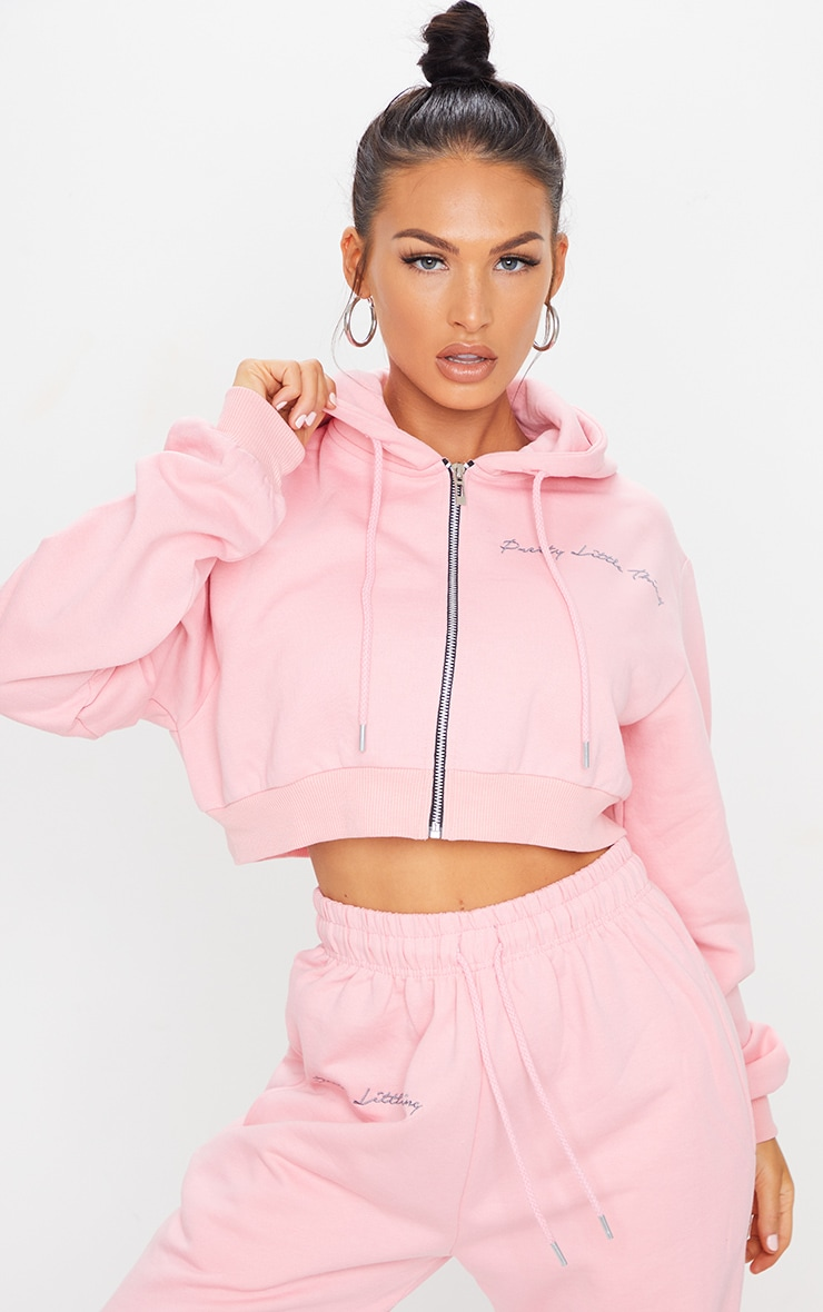 PRETTYLITTLETHING Candy Pink Cropped Embroidered Zip Hoodie 1