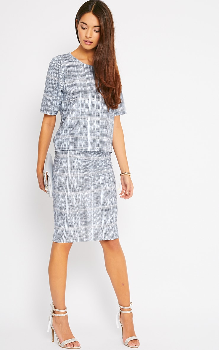 Cleo Blue Checked Midi Skirt 3
