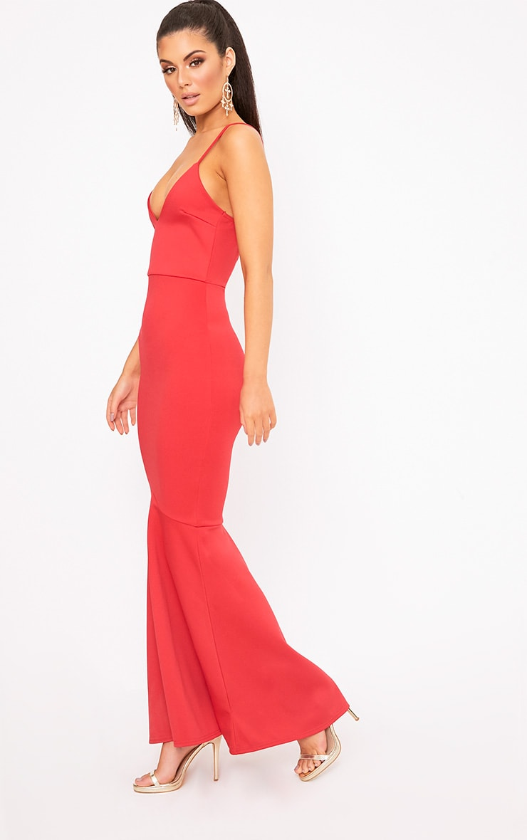 Red Plunge Fishtail Maxi Dress 4