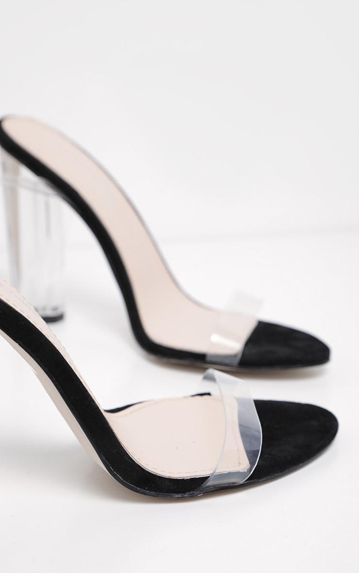 Black Clear Strap Heels 3
