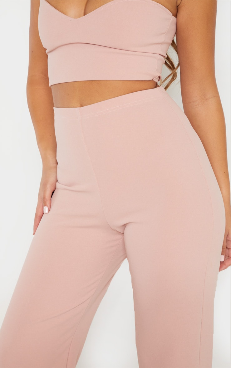 Dusty Pink Crepe High Waisted Wide Leg Trouser 5